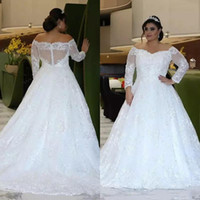 Wholesale large natural crystal resale online - Top Quality Plus Size Wedding Dresses sweetheart Long Sleeves Off Shoulder Big A Line Shiny Crystal Beads Lace Large Size Bridal Gowns