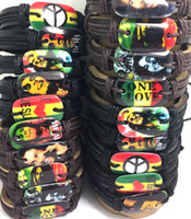Wholesale bob marley bracelets for sale - Group buy Mix Bob marley Leather Bracelets Men Fashion Wristbands Peace one love leaf Jewelry HOT