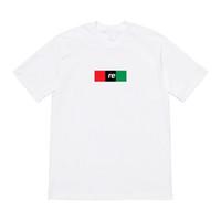 camisa verde preta venda por atacado-19SS BOX LOGOTIPO Vermelho Preto Verde Carta Impressão Hip Hop Tee Skate Cool T-shirt Das Mulheres Dos Homens de Algodão Casual Moda T-Shirt HFHLTX008
