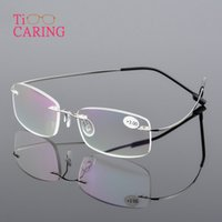 ingrosso occhiali senza occhi ultra leggeri-2019 New Memory Titanium Occhiali unisex flessibili Occhiali da lettura senza montatura Uomo Occhiali ultraleggeri Occhiali presbiti senza cornice flessibili