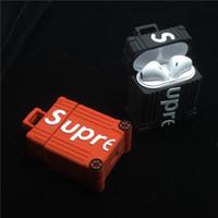 kulaklık çantası toptan satış-Sokak sup Aksesuarları kılıf Airpods 1 2 bagaj Bluetooth Kulaklık Kulaklık Hard Case beyaz Cilt çanta kapak ücretsiz kargo