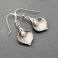 Wholesale bud earring resale online - Bohemia Vintage Gold Flower Bud Imitation Pearl Statement Earring Silver Leaf Droplets Dangle Earrings for Women Boho Jewelry