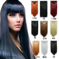 7pcs set 130g Synthetic Clip in hair extensions Straight hair pieces 22inch Clip on hair extensions women black long
