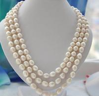 pérolas cultivadas de 11mm venda por atacado-Mulheres Presente de Água Doce muito bom 3 vertentes 10-11mm arroz branco de Água Doce cultivada colar de pérolas Belas mulheres jóias