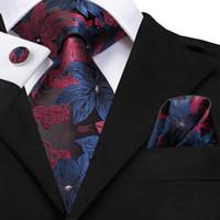 ingrosso legami floreali blu-Set cravatta floreale rosso e blu Hi-Tie set 8,5 cm di larghezza cravatte in seta fatte a mano al 100% per matrimonio di lusso da uomo N-3125