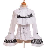schwarze reichspitze großhandel-Schwarz Gothic Bluse Frauen Vintage Steampunk Elegante Prinzessin Empire Royal Taille Schnüren Lolita Jabot Shirt Tops