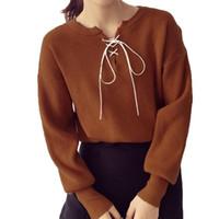 suéter de poliéster de algodón al por mayor-2019 Nueva primavera Otoño mujer Sólido algodón + poliéster Suéter con una cuerda Suéter prendas de punto de manga larga prendas de punto femenino