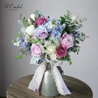 ingrosso fiori artificiali blu ortensia-PEORCHID Bouquet di ortensie viola blu Wildflower Rose Spose Bouquet Fiori matrimonio Seta Artificiale Ramo Para Novia 2019 25