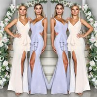 Wholesale sexy wedding party dresses online - Elegant Simple Mermaid Bridesmaid Dresses Sexy V Neck Front Split Ruffles Peplum Long Wedding Guest Party Gowns Under BM0624