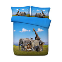 Wholesale zebra queen bedding set online - Animal Zoo Kids Boys Duvet Cover Set Giraffes Girls Piece Bedding Set With Pillow Shams Animal Bear Zebra Elephant Duck Tiger Lion