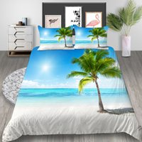 Wholesale 3d bedding set beaches resale online - Beach Printed Bedding Set King Beautiful Sea Coconut Tree D Duvet Cover Queen Fashion Home Deco Single Double Bed Cover with Pillowcase