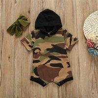 meninas camuflagem shorts venda por atacado-Verão bebê crianças roupas meninos meninas de manga Curta camuflagem com capuz macacões + arco headhand 2 peças define roupas de grife crianças EJY531