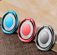 metallmagnetständer großhandel-360 rotierenden Blitz Telefon Ring Telefon Stand Schnalle Metallmagnet Auto Fingerschnalle mit opp Beutel