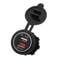 Wholesale ports terminals resale online - Car Fast Charge QC Dual USB Charger Quick Charge Mobile Phone Charger Port USB Fast Car With Two Blue Terminal
