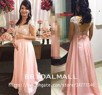 Wholesale pregnant bridesmaid dresses line resale online - Maternity Lace Beaded Arabic Evening Dresses With Cap Sleeves Pink Chiffon Long Prom Dresses Elegant Formal Party Bridesmaid Pregnant Gowns