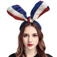 ingrosso braccialetto dell'orecchio del coniglietto all'ingrosso-Commercio all'ingrosso Nuova Bandiera Bunny Ears Fascia Fascia Dei Capelli Dell'orecchio di Coniglio per il Costume Cosplay Accessorio (Blu Bianco Rosso)
