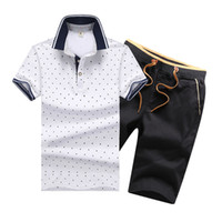 0b2a80ce15f520 Summer Mens Tracksuit Printed Homme Sportsuit Men Lapel Neck Short Sleeves  Pullover With Casual Jogger Pants Suits