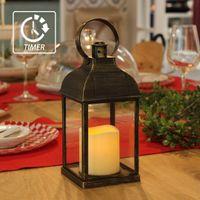 açık mum ışıklı fenerler toptan satış-WRalwaysLX Zamanlayıcılı Dekoratif Fenerler Alevsiz Mum Işığı 9