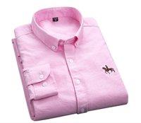 yaka yaka gömlek erkek toptan satış-Yeni Pamuk Mükemmel Rahat Slim Fit Düğme Yaka Iş Erkek Casual Gömlek Tops