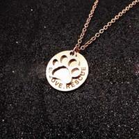 Wholesale paw print necklaces resale online - Paw print Pendant Silver Gold Rose go Silver Gold Rose gold Pendant pet Dog Accessories Pendant Stainless Steel Commemorate Pet Necklace