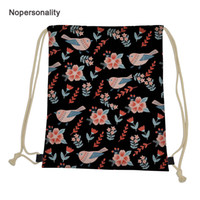 Wholesale pretty girls backpacks resale online - Nopersonality Pretty Floral Birds Print Women Drawstring Bags Lightweight Female Travel Storage Bag Portable Girls Backpack