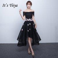 vestido negro de tul asimetrico al por mayor-Es YiiYa Sales Tul rojo asimétrico con cuello barco y flores Vestidos de baile Ilusión Vestidos largos formales cortos