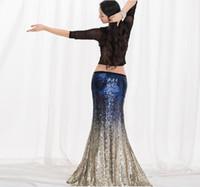 ingrosso pannello esterno di danza del ventre blu reale-2019 Nuova vendita calda Bling Bling Gonna a coda di pesce con paillettes Sexy 2 pezzi Belly Dance Mermaid Costume Stage Show Vestiti Blu reale