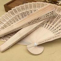 Wholesale hand fans wood for sale - Group buy Hand Fans For Women Bamboo in bulk personalized wood wedding favours fan party giveaways sandalwood folding hand fans for wedding