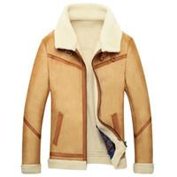 chaqueta de invierno de piel de oveja para hombre al por mayor-Faim Cashmere hombres abrigo de piel marrón Outwear chaqueta de lana para hombre abrigos de piel Faux Sheepskin Parka Slim Luxury Winter Warm