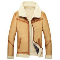 искусственные овчины куртки мужчин оптовых-Faux Cashmere Men's Fur Coat Brown Outwear Jacket Fleece Mens Fur Coats Faux Sheepskin Parka Slim  Winter Warm