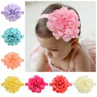 neue design baby haare zubehör blume großhandel-Bunte neue Design Baby-elastisches Stirnband für Kinder Polyester Tuch-Blumen-Stirnband-Haar-Zusätze 12 Farben 738