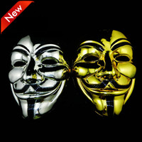 Wholesale vendetta silver mask resale online - Gold Silver V Mask Masquerade Masks For Vendetta Anonymous Valentine Ball Party Decoration Full Face Halloween Scary Party Mask DBC VT0770