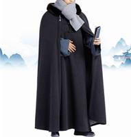 зимняя синяя форма оптовых-Winter warm lay meditation cloak zen monks uniforms shaolin monk robe cape Buddhist  clothing blue/grey/red
