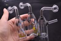 ingrosso divertente olio rig-Creativo Divertente cartone animato bicchiere da bong in vetro Becher Trasparente piccolo Adesivo Cartoon perc downstem acqua dab oil rig bong