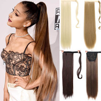 Wholesale long straight drawstring ponytail for sale - Group buy Clip in Ponytail Extension Wrap Around Long Straight Ponytail Drawstring Inch High Temperature Fiber Synthetic Hairpieces