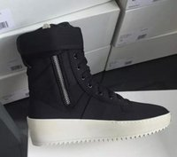 Wholesale army boots men size 46 resale online - 2019 hot Best Black and White Quality Fear of God Top Military Sneakers Hight Army Boots Men and Women Fashion Shoes Martin Boots size