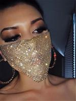 Wholesale rhinestone mask resale online - Trendy Bling Rhinestone Face Mask Jewlery for Women Face Body Jewelry Night Club Decorative Jewellery party masks KKA7883