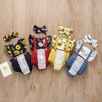 gefaltete babywesten großhandel-Baby Girl Sunflower Romper Square Kragen Flying Sleeve Floral Weste Hohlriemen Strampler Baby Infant Girl Designer-Kleidung mit Stirnband 1-3T