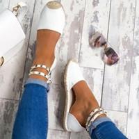 chaussures plates achat en gros de-Rivets Perlés Femmes De Mode À La Main En Coton Tissu Espadrilles Glissent Sur Casual Toile Mocassins Dames Chaussures Plates Taille SDC67