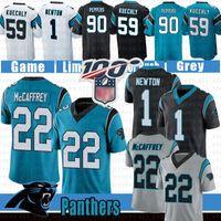 karikatürler futbolu toptan satış-1 Cam Newton Carolina 22 Christian McCaffrey Panther Futbol Jersey 59 Luke Kuechly 90 Julius Peppers Formalar Mavi Siyah