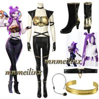 Wholesale HOT Game LOL KDA Kaisa Leather Cosplay Costume Boots Wig Daughter of the Void Halloween Women s Sexy Fancy Suit Customize