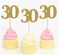 Wholesale birthday numbers cake toppers resale online - DHL Cupcake Toppers Golden Glitter Number Happy Birthday Cake Topper Cake Decoration nl Cake Picks Anniversary style number