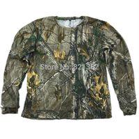 ropa de camuflaje gratis al por mayor-Realtree Camo Pattern Hunting T Shirt manga larga Realtree Camouflage Shirt ropa envío gratis