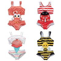 babados de bordado venda por atacado-Kid Beachwear Amarelo preto listrado abelhas Swimsuit Red Bottom White dot Coruja Fato de banho Joaninha Ice Cream Ruffles bordado padrão swimwear