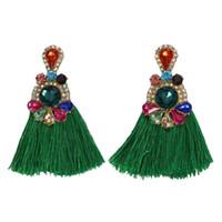 красочные серьги для женщин оптовых-Ethnic Long Tassel Earrings Vintage Women 2019 Boho Colorful Crystal Rhinestone Drop Women Statement Party Jewelry