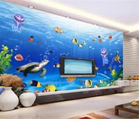 подводные обои для спальни оптовых-Продвижение обоев Изысканный подводный мир Turtle Tour 3d Seascape Wallpaper Гостиная Спальня Фон Отделка стен Обои