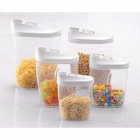 açık plastik kavanoz kapakları toptan satış-5 Adet Kilitleme Şeffaf Akrilik Plastik Gıda Depolama Kavanozlar Teneke Kutu Şişeler için Hava Geçirmez Kapaklı Set Şeker Çay Kahve Pirinç Mutfak Depolama