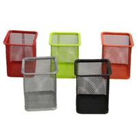 ingrosso contenitori da scrivania-Four Prism Desk Organizer Cilindro Metallo Pen Container Spray Molding Reticular Serbatoio Anti caduta Concise Inside Aumento 1 6cfb1