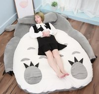 totoro bed оптовых-Япония Аниме Тоторо Плюшевые Кровать Большой Фаршированный Кот Спальный Мешок Кровать Матрас Татами 200см х 150см