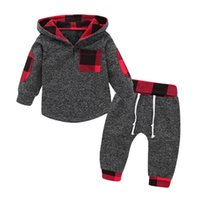 ingrosso bambino felpetto bambino 3t-Toddler Baby Boy Girls Unisex Abbigliamento Warm Hooded Long Sleeve Felpa Plaid Pants Outfit Set di vestiti 0-3T
